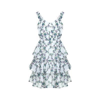 flower pattern mini tiered dress
